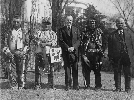 President Calvin Coolidge with Native delegation image