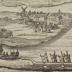 illustration of New York harbor during 17-18th century
