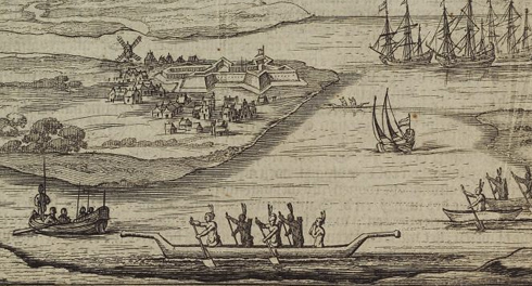 New York harbor with illustrated ships and American Indians in a canoe