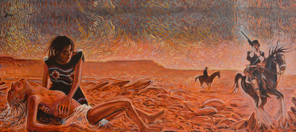My Father's Torture, 2012. Mural painting by Shonto Begay, Courtesy of Fort Sumner Historic Site/Bosque Redondo Memorial.