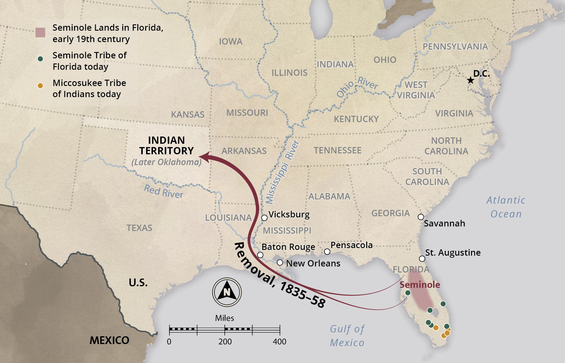 Removal Of The Seminole Nation Interactive Case Study - Us-indian-territory-map