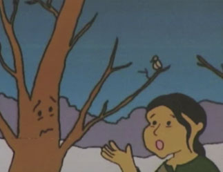 young girl next to a tree with a face illustration