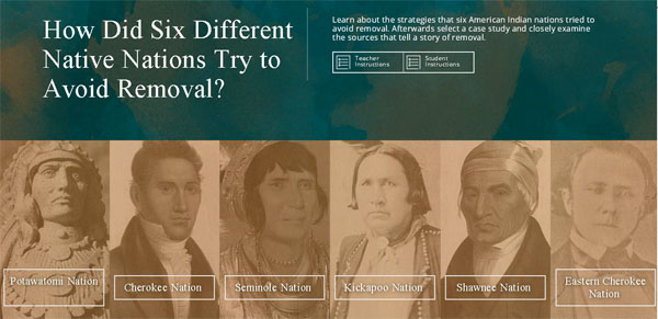 homepage of Six Different Native Nations Try to Avoid Removal