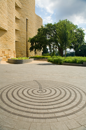 Spiral lunar pattern marks the museum's south entrance