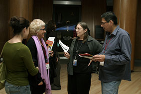 Paul Rickard, Millie Seubert, Nora Naranjo-Morse and an audience member at the 2006 Native American Film + Video Festival