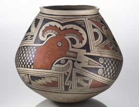 Jar with feathered serpent design
