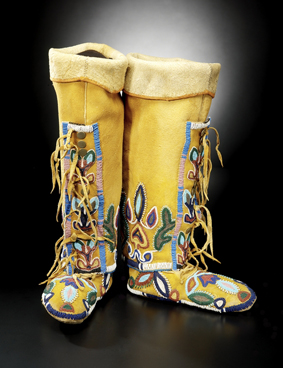 Northern Shoshone woman's leggings and moccasins