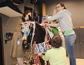Rachel Allen, Emily Kaplan, Shelly Uhlir dress a horse mannequin in Crow regalia