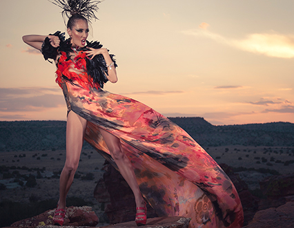 Native Fashion Now - dress from Desert Heat Collection