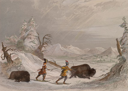 Hunting the Buffalo in Winter by Seth Eastman