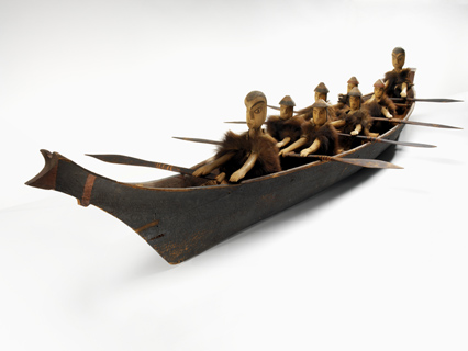 Makah model canoe and figures by Young Doctor
