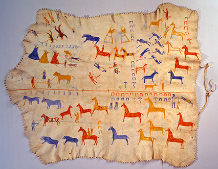Blackfeet elk skin robe with painted decoration