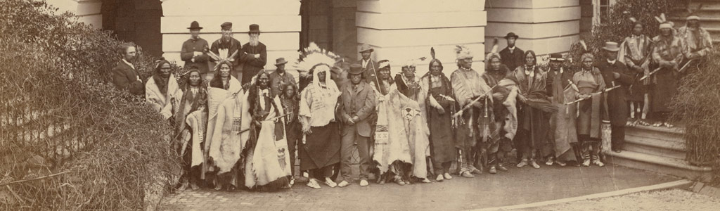 Delegation from Yankton, Santee, Upper Missiouri Sioux, Sac and Fox, Ojibwe, Ottawa, Kickapoo, and Miami tribes with President Johnson