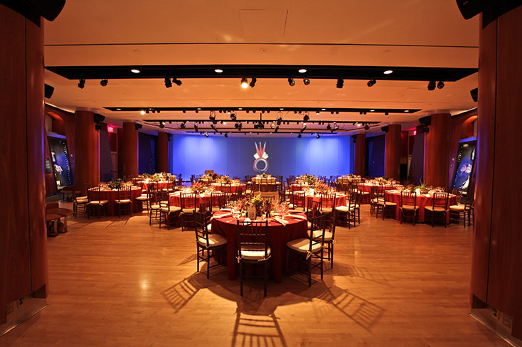 Tables set up in the auditorium, New York